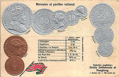 Hong Kong Embossed Old Postcard Coins Pictures British Colonies