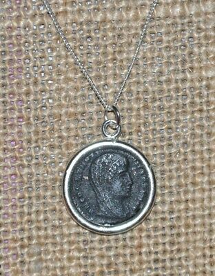 Authentic Ancient Constantine The Great Coin Pendant Sterling Silver Necklace