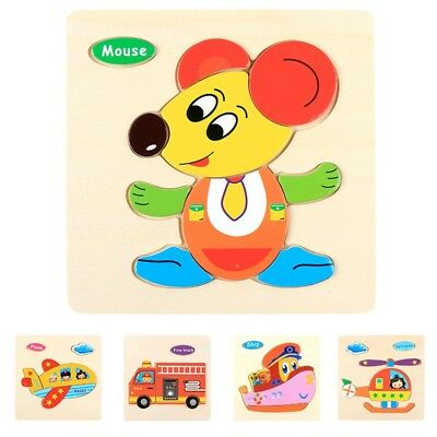 Cute Animal Pattern Wooden Puzzle Educational Developmental Kids Training Toy