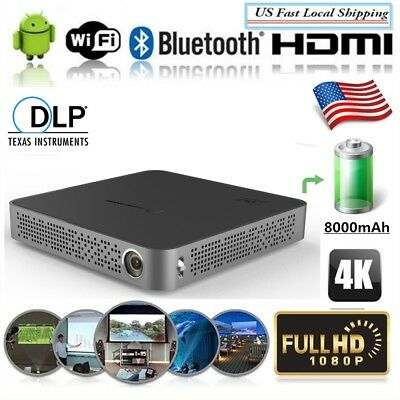 Mini Portable DLP 5500Lumens 4K Android Wifi Home Theater Projector 16G 2018 New