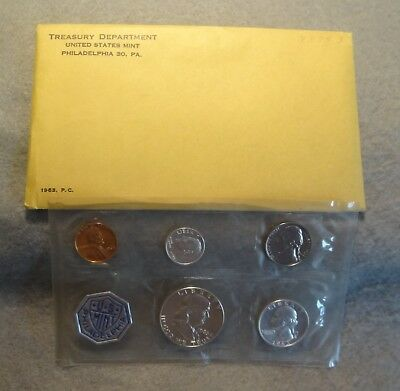 1963 Us Proof Set With 3 Silver Coins In Original Envelope