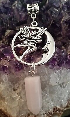 WOW - NEW DOUBLE FAIRY/MOON & ROSE QUARTZ GEMSTONE PENDANT on 50cm Black Cord