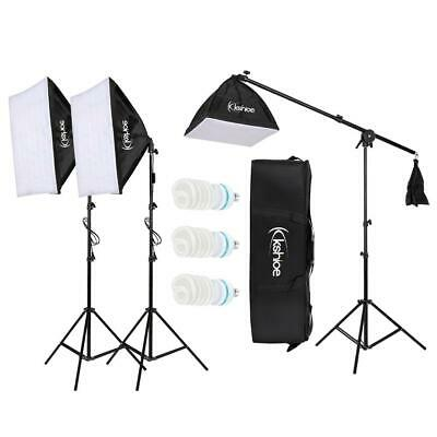 Studio Boom Arm Soft Box Continuous Lighting Kit Light Stand with 3 Softbox