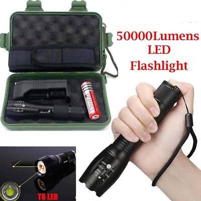 Tactical Police 50000LM Power T6 LED Flashlight Zoomable Torch+18650 + Charger