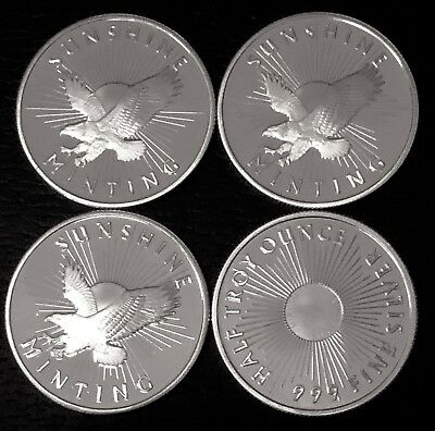 Lot Of 4 - 1/2 Oz Silver Round - Sunshine Mint (Mintmark Si) .999 Fine