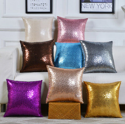 Glitter Sequins Pillow Cover Case Waist Throw Sofa Cushion Cases Home Decoration