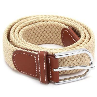 Mens Womens Elasticated Woven Braided Stretch Webbed Belt Leather Buckle LA