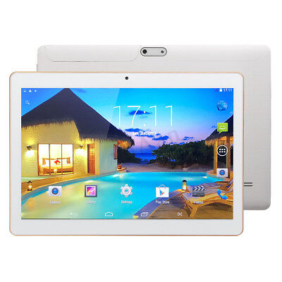 White Octa Core 10.1'' Tablet PC 4G+64GB Android 7.0 HD Bluetooth 2 Card WIFI