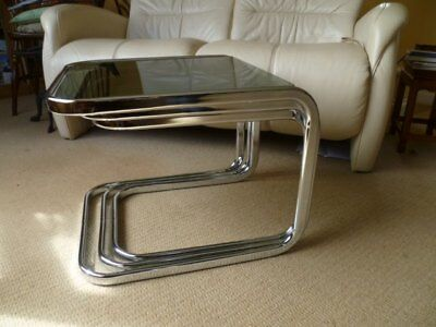 1960/70s Vintage MCM Space Age Slim Steel Frame Smoked Glass Coffee 3 Table Nest