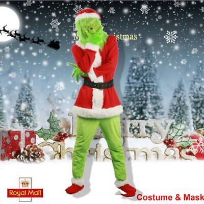Santa Grinch Costume How the Grinch Stole Christmas Cosplay Suit Outfits +Mask