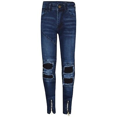 Kids Boys Blue Stretchy Designer's Jeans Ripped Denim Skinny Pants Trousers 5-13