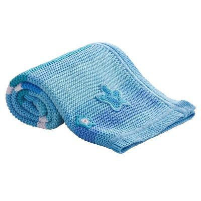 Clair de Lune Pick-N-Mix Cotton Knitted Blanket (Blue) For Baby`s Pram or Cot
