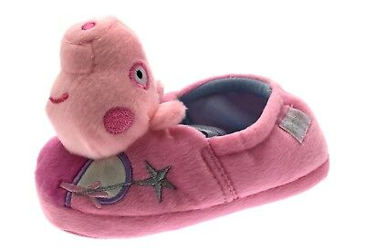 Girls 3D Peppa Pig Slippers Novelty Fun Character Pink Fleece Boots Kids Size
