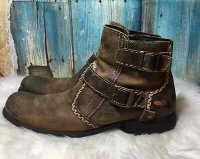 aa40a5c981b0 Bed Stu Ankle Boots Mens Side Buckles Brown Distressed Leather Size