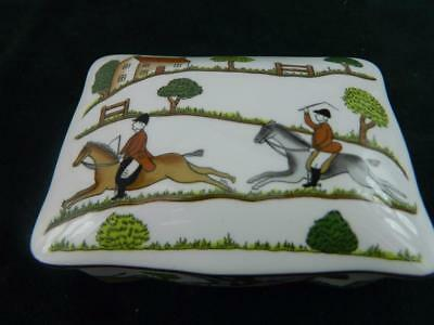 Crown Staffordshire Hunting Scene Lidded  Rectangular Box Trinket box