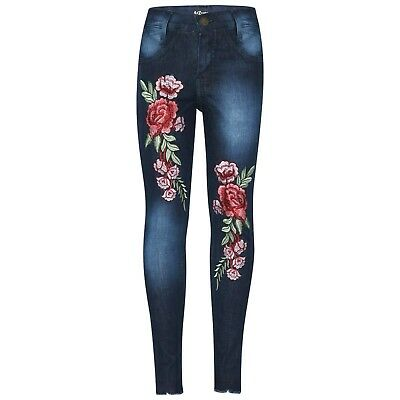 Kids Girls Blue Stretchy Jeans Rose Embroidered Denim Pants Trousers Jegging