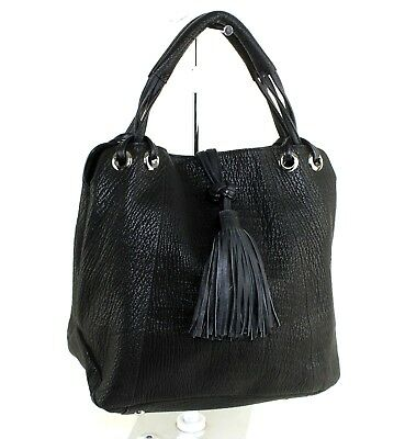 Genuine Black Leather Double Chamber Small Tote Hand Bag Non Brand