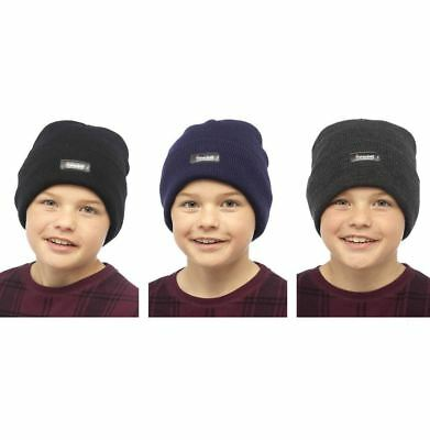 Childrens Boys Girls Heatguard Thermal Genuine Thinsulate Turn Up Beanie Hat