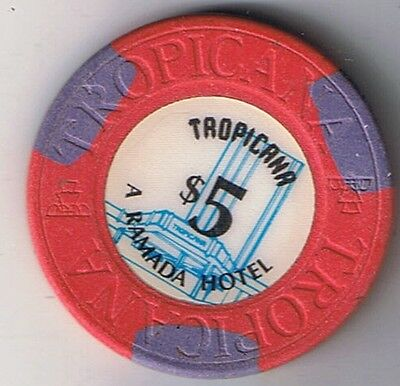 Tropicana A Ramada Hotel $5.00 House Mold With Fountain Casino Chip Las Vegas Nv
