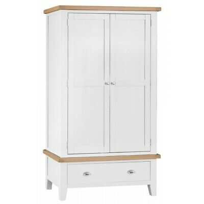 Tenby White Painted Furniture Bedroom 2 Door Double Wardrobe with Drawer Storage