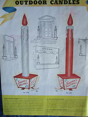 "1950 Advertising Grocery Sign Christmas NOMA Lights ""STORE OUTDOOR CANDLES"""