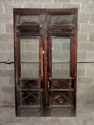 ~ ORNATE ANTIQUE DOUBLE ENTRANCE FRENCH DOORS ~ 53 x 92 ~ ARCHITECTURAL SALVAGE