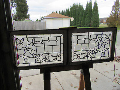 ~ Pair Antique Stained Beveled Jeweled Glass Transom Windows ~ 28 X 20 Salvage