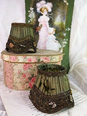 2 LOVELY ANTIQUE FRENCH SILK LAMPSHADE RIBBON WORK and METALLIC TRIM 1900c