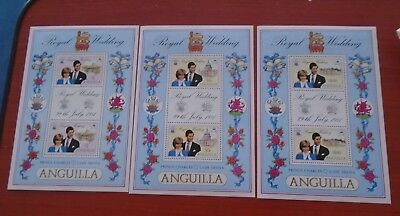 3 x  ANGUILLA OFFICIAL Princess Diana Royal Wedding minisheets 1981