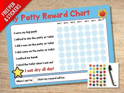 Potty Training Reward Chart - Kids Childrens Sticker Star - A4 Reusable