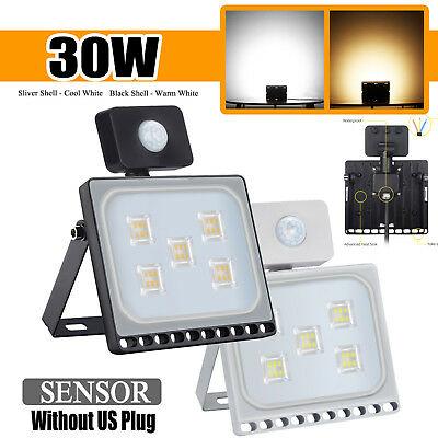 LED Flood Light 30W PIR Motion Sensor Floodlight Driveway Security 110V