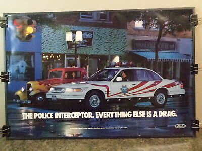 1995 Ford Police Interceptor Poster With Beach Boy's Little Deuce Coupe, Rare !!