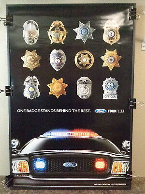 2005 Ford Police Interceptor Poster Featuring Police Badges, Very Scarce! L@@k !