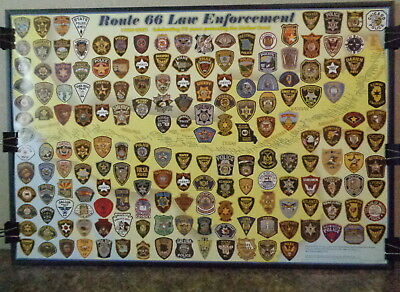 Route 66 Law Enforcement Poster, Very Rare, Police Patches, 75Th Anniv, 2001