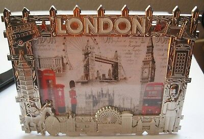 London Photo Picture Frame 3D Silver Guard Phone Booth Double Decker Bus Big Ben