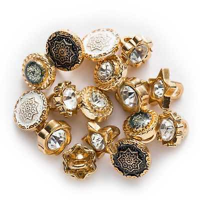 10pcs Zircon Round Small Metal Buttons for Sewing Scrapbook Clothing Crafts Card