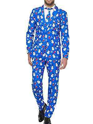 Mens Blue Snowman Ugly Holiday Christmas Suit Sportscoat Slacks & Tie Small