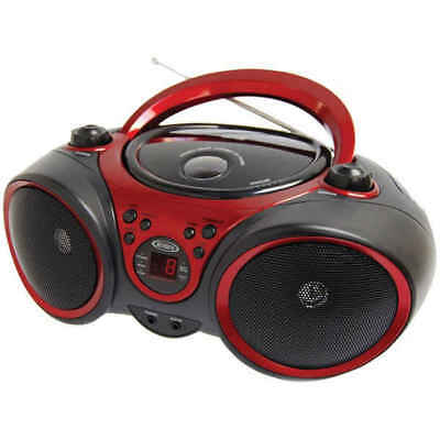 Spectra Merchandising JEN-CD-490 Portable CD Player LED Display/Aux Black/Red
