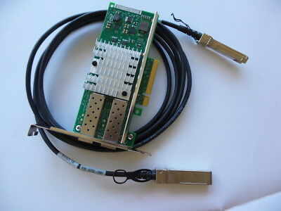 Genuine intel 10GB 2P ADAPTER X520-DA2 PCI-E Card + 1x 3M high quality cable