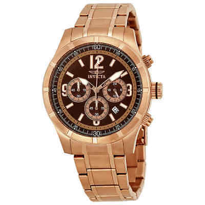 Invicta Specialty Classic Chronograph Brown Dial Rose Gold-tone Men's Watch