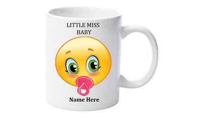 Emoji Tea, Coffee Mug, Personalised with your name,Little Miss Baby