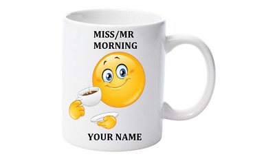 Emoji Coffee Mug, Personalised with your name,Little Mr/Miss Morning