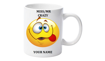 Emoji Mug Personalised with your name,Little Mr/Miss Crazy