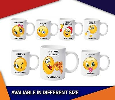 Emoji Tea Coffee Mug, Personalised with your name,Little Mr/Miss Disappointed