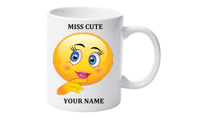 Emoji Personalised Coffee Mug with your name,Little Miss Cute