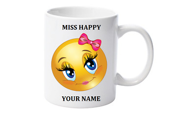 Emoji Tea, Coffee Mug, Personalised with your name,Little Miss Happy