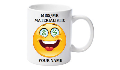 Emoji Coffee Mug, Personalised with your name,Little Mr/Miss Materialistic