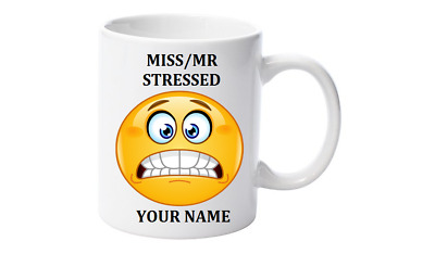 Emoji Tea, Coffee Mug, Personalised with your name,Little Mr/Miss Stressed