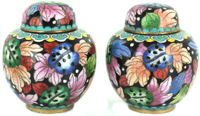 Vintage Republic Of China Colorful Tropical Cloisonne Ginger Jar Pair