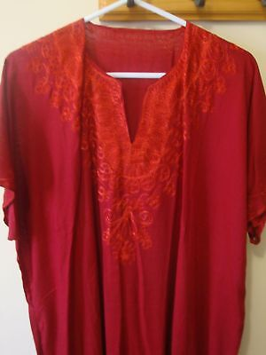 Egyptian Made Gallabiah - (Kaftan) - Embroidered Neckline - Cotton - Size 16-18